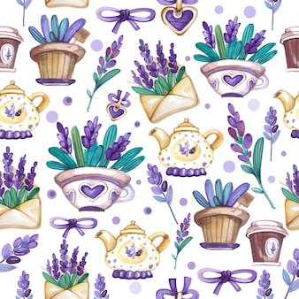 Lavendel aquarell nahtlose muster