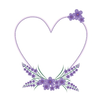 Lavendel blumen blumenkranz liebe rahmen flach