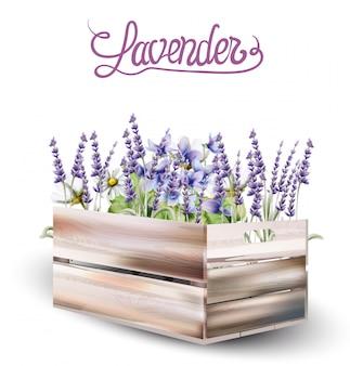 Lavendel box karte aquarell