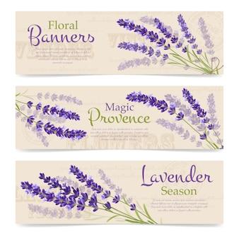 Lavendel realistische banner vorlage