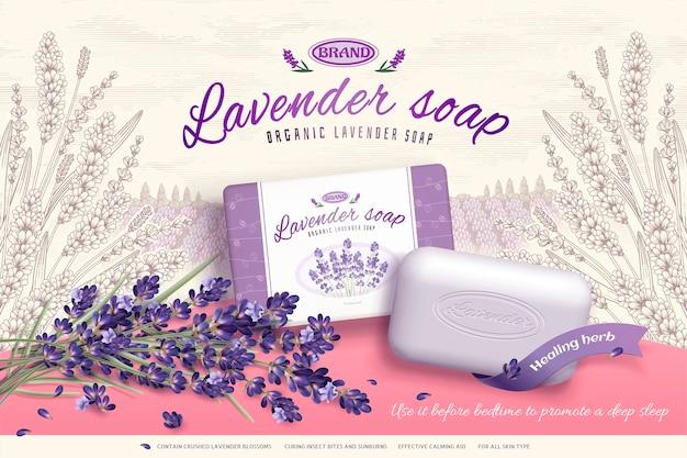 Lavendel-seifenwerbung mit blühenden blumenbestandteilen, gravierter eleganter gartenhintergrund