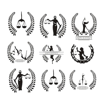 Law-logo mit gerechtigkeit dame silhouette festlegen