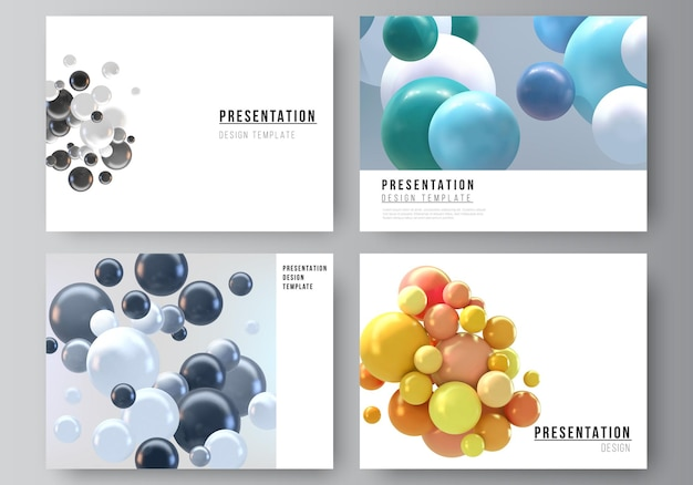 Layout der präsentationsfolien design business-vorlagen, mehrzweck-vorlage mit mehrfarbigen 3d-kugeln, blasen, kugeln.