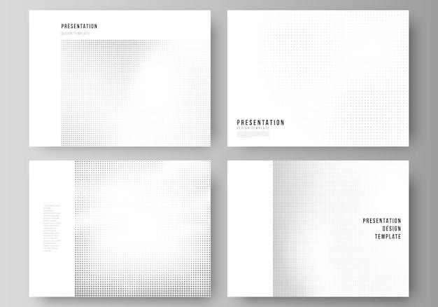 Layout der präsentationsfolien design business-vorlagen, mehrzweckvorlage für präsentationsbroschüre, broschürencover. halbton-effekt-dekoration mit punkten. gepunktetes muster für den grunge-stil.