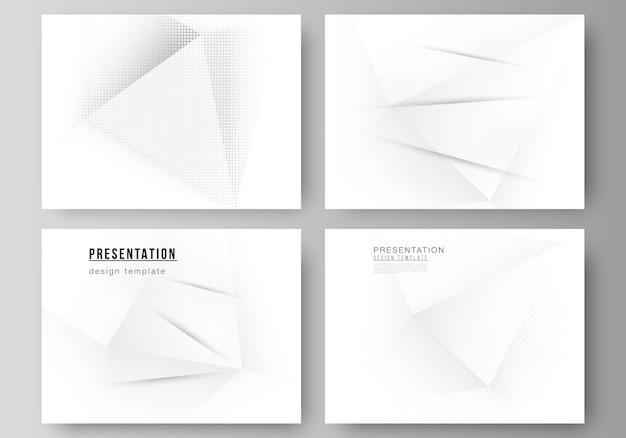 Layout der präsentationsfolien designvorlagen, mehrzweckvorlage für präsentationsbroschüre, broschürenumschlag. halbton gepunkteter hintergrund mit grauen punkten, abstrakter verlaufshintergrund