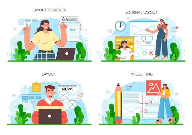 Layout-designer-konzept-set zeitschriften- oder zeitungs-layout-entwicklung