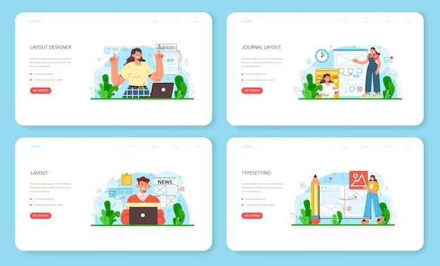 Layout-designer-webbanner oder landingpage-set. zeitschrift oder zeitung