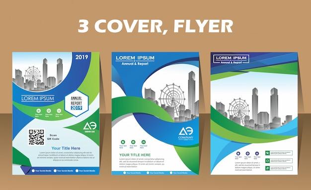 Layout-flyer von drei modernen abdeckungen im a4-format