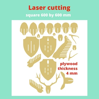 Layout für laserschneiden. der kopf eines hirsches. vektor-illustration