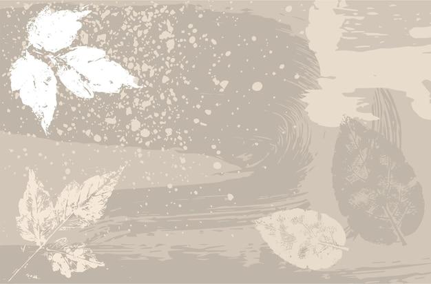 Layout mit herbstblättern in naturtönen im grunge-stil. horizontaler abstrakter hintergrund.