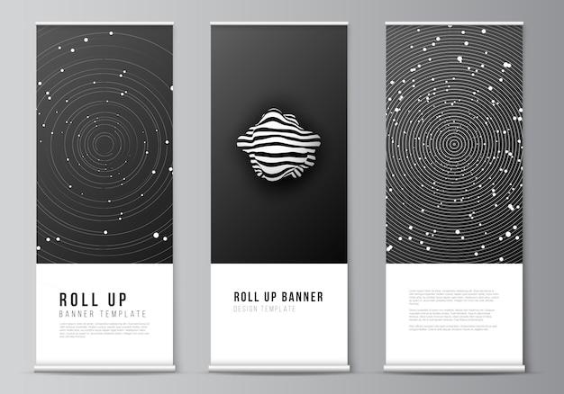 Layout von roll-up-design-vorlagen für vertikale flyer, flag-design-vorlagen, bannerständer, werbedesign s. tech science zukunft hintergrund, raumgestaltung astronomie-konzept.