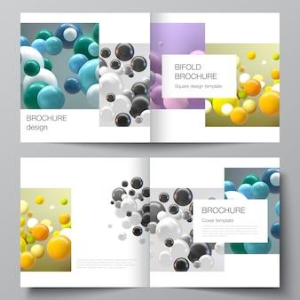 Layout von zwei cover-vorlagen für quadratische bifold-broschüre, flyer, magazin, cover-design, buch-design. abstrakter futuristischer hintergrund mit bunten 3d-kugeln, glänzenden blasen, kugeln.