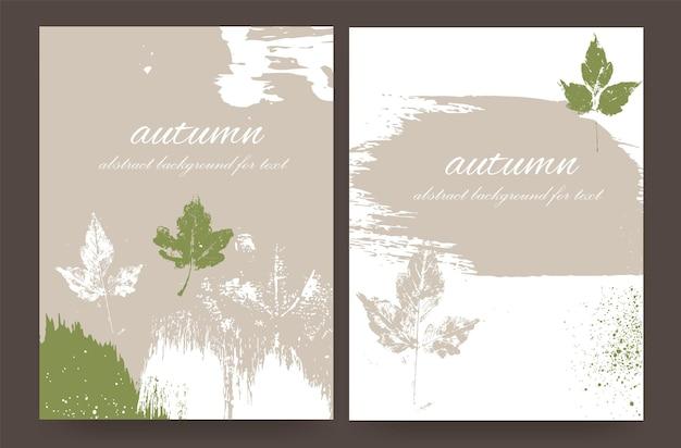 Layouts mit herbstlichem design aus naturtönen im grunge-stil. abstrakter hintergrund für ihren text.