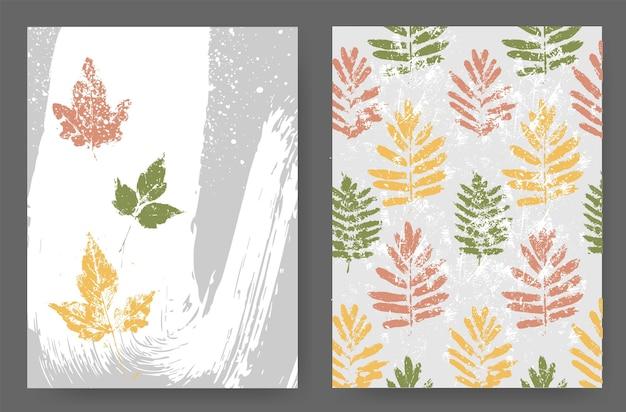 Layouts mit herbstlichem design aus naturtönen im grunge-stil. silhouetten von herbstblättern auf abstraktem hintergrund