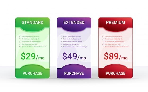 Layoutvorlage für preisvergleichstabelle für drei produkte,