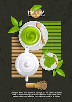 Layoutvorlage mit tasse matcha latte. illustration von grünem tee, japanischem getränk, bio-getränk.