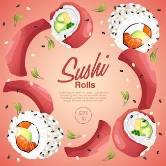 Layoutvorlage von sushi-rollen