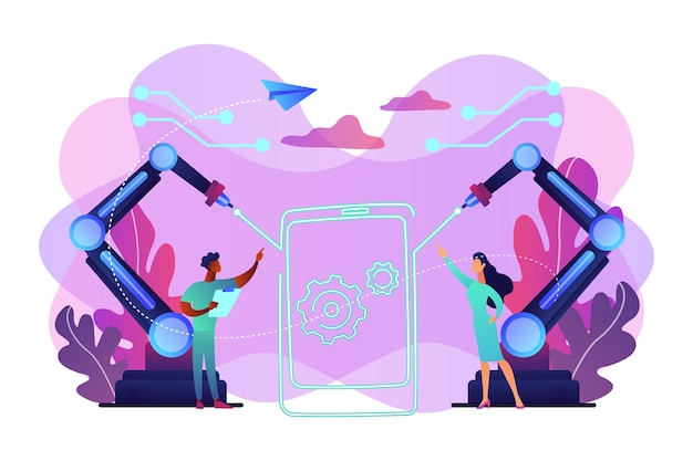 Lazer beams zeichnen umrisse von smartphone und ingenieuren, winzigen menschen. lasertechnologien, optische kommunikationssysteme, medizinisches lasernutzungskonzept. helle lebendige violette isolierte illustration