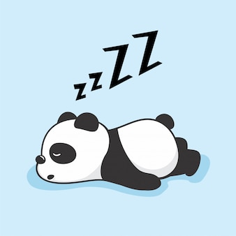 Lazy panda cartoon schlaftiere
