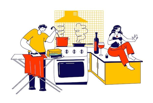 Lazy spouse illustration Premium Vektoren