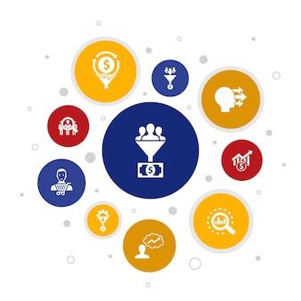 Lead conversion infografik 10 schritte bubble design.sales, analysis, prospect, customer simple icons