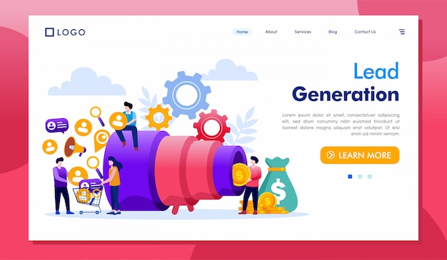 Lead generation landing page website illustration vektor