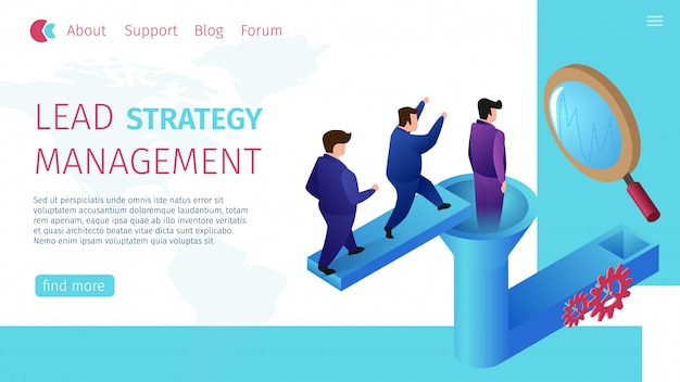 Lead strategy management horizontal flat banner.