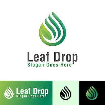 Leaf drop logo set