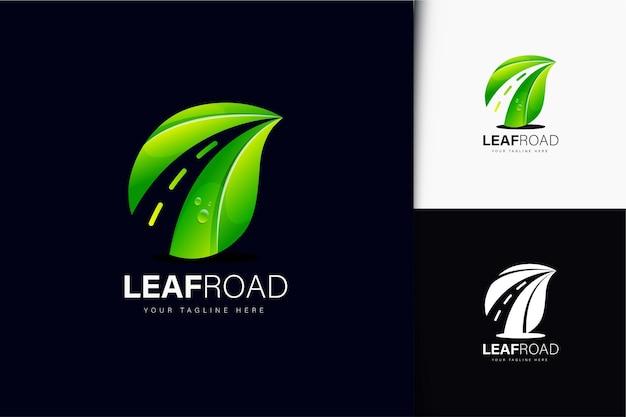 Leaf road logo-design mit farbverlauf