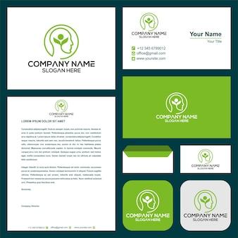 Leaf smart green logo und visitenkarte premium