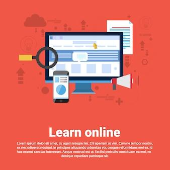 Learn online web bildung banner flat