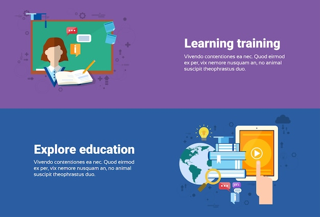 Learning training kurse bildung web banner flache vektor-illustration