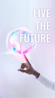 Lebe den zukünftigen vorlagenvektor social-media-geschichte der virtuellen assistententechnologie