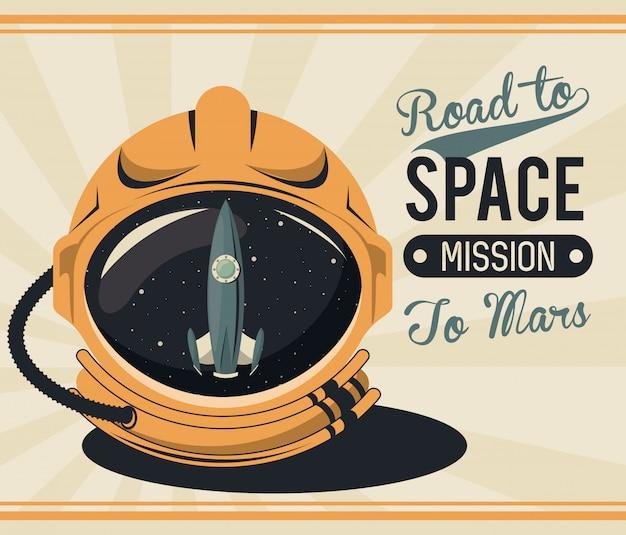 Leben im weltraumplakat mit astronautenhelm