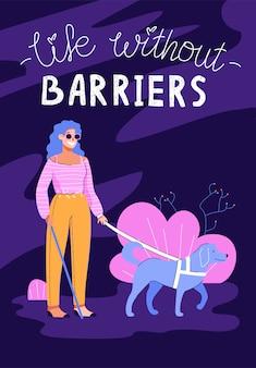 Leben ohne barrieren - blinde frau mit blindenhund, der im park geht