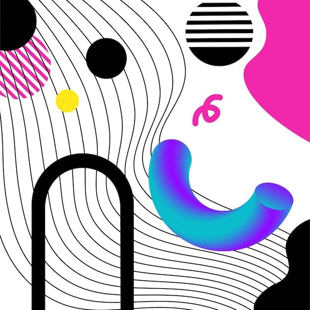 Lebendige 3d-geometrie und linien abstrakte collage. vektordesign für social media und visuelle inhalte, web- und ui-design, poster und kunstcollage, branding.