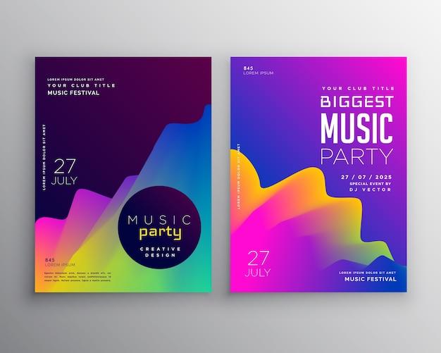 Lebendige abstrakte musik party-event-flyer-poster-template-design