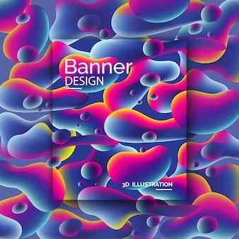 Lebendige farbige banner mit 3d-formen