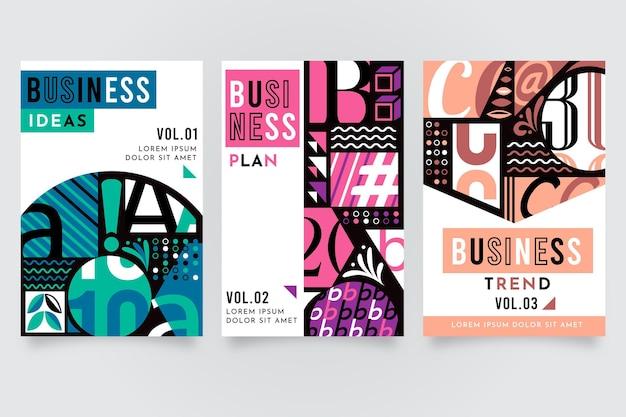 Lebendige farbige postmoderne business-cover-kollektion