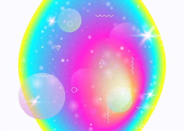 Lebendige farbverläufe auf regenbogenhintergrund. holographische dynamische flüssigkeit. kosmos-hologramm. grafikvorlage für web-app, flyer und jahresbericht. mädchenhafte lebendige farbverläufe.