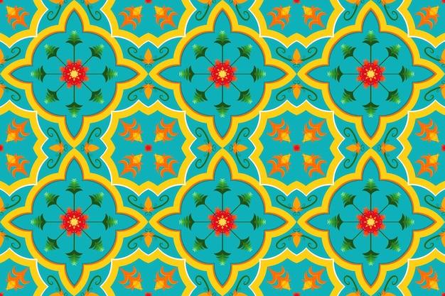 Lebendige gelbe blaue marokkanische ethnische geometrische blumenfliesenkunst orientalisches nahtloses traditionelles muster. design für hintergrund, teppich, tapetenhintergrund, kleidung, verpackung, batik, stoff. vektor.
