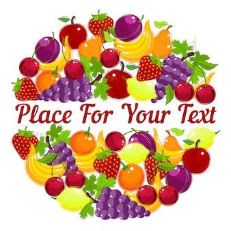 Lebendige gesunde frische früchte in einem kreisförmigen design mit zentralem copyspace