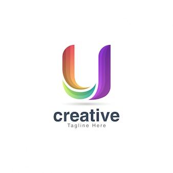 Lebendige kreative buchstabe u logo design template