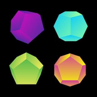 Lebendige verlaufsfarbe verschiedene winkel dodekaeder dekoration formen sammlung schwarzer hintergrund