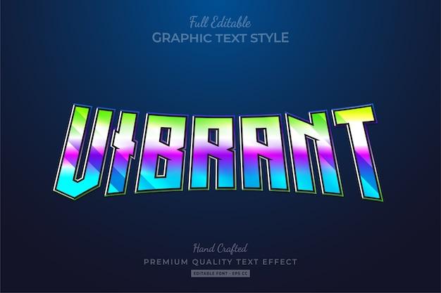 Lebendiger, bearbeitbarer premium-textstil-effekt mit farbverlauf der 80er jahre Premium Vektoren