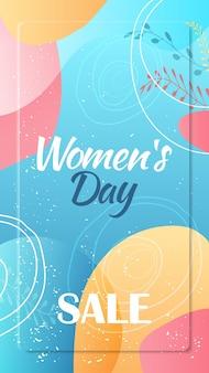 Lebendiger flyer oder grußkarte der frauentag 8. märzfeiertagsfeier lebendige mit vertikaler illustration der dekorativen blätter und der handgezeichneten texturen