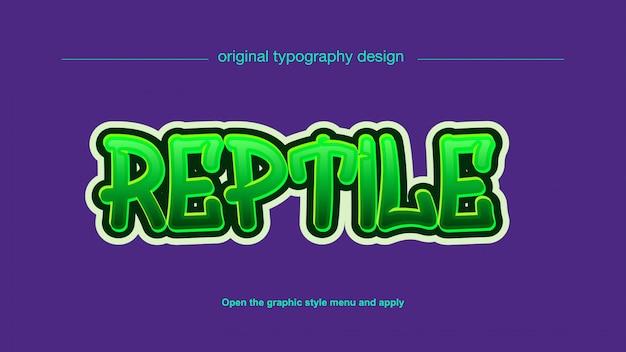 Lebendiger grüner graffiti-stil bearbeitbarer texteffekt