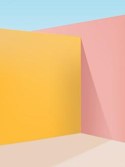 Lebendiger pastell-geometrischer studio-schuss-eck-hintergrund, rosa, gelb u. beige