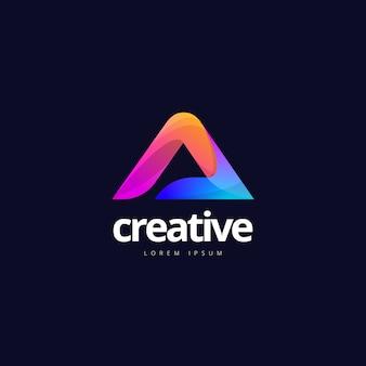 Lebendiger trendiger bunter kreativer buchstabe ein logo