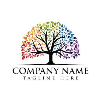 Lebendiges baum-logo farbenfrohes baum-logo regenbogen-baum-logo-vektor-logo-design
